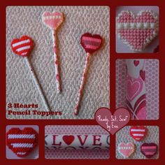 """Plastic Canvas: 3 Hearts Pencil Toppers . . .perfect buy for that last-minute gift, Valentine's Day or any day! -- """"Ready, Set, Sew!"""" by Evie [https://www.etsy.com/listing/178997172/plastic-canvas-3-hearts-pencil-toppers-3?ref=shop_home_active_1]"""
