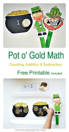 Fun Math Game for numbers, counting, one-one correspondence, addition and subtraction. FREE printable included. #stpatricksday #mathgames