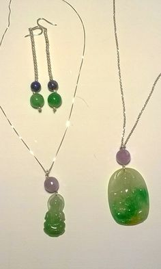Kalos Jewels - Giada cinese montata in argento,orecchini argento. chinese jade silver earrings with malchite and lapis