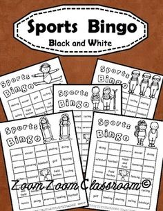 Field day, sports day, any day! Here's a Bingo game related to a variety of sports. Great to use for your classroom themed sports events and activities. This is the BLACK INK version of this Bingo game. Grades 2 and up. Field Day Activities, Camping Activities, Camping Crafts, Sports Activities, Sports Theme Classroom, Summer Camp Crafts, Sport Craft, Sports Day, Camping Games