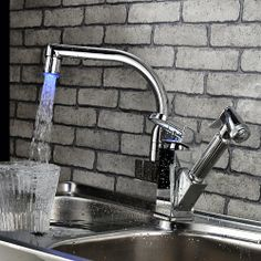 LightInTheBox Contemporary Color Changing LED Pull Out Kitchen Faucet-Chrome Finish Function: Bathroom Sink Faucets. Feature: LED, Widespread, Pull out. Style: Contemporary. Finish: Chrome.  #LightInTheBox #Home_Improvement