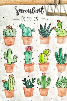 20 Creative step by step cactus and succulent doodle ideas for your bullet journ. 20 Creative step by step cactus and succulent doodle ideas for your bullet journal Succulents Drawing, Cactus Drawing, Plant Drawing, Cacti And Succulents, Cactus Plants, Indoor Cactus, Propagating Succulents, Succulent Arrangements, Planting Succulents