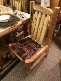 Aspen Log Side Chair is available in different sizes, stains, wood options, and fabric options. Log End Tables, Log Coffee Table, Shutter Shelf, Lodge Furniture, Log Candle Holders, Expandable Table, Log Siding, Wildlife Decor, Wood Dresser