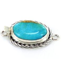 KINGMAN TURQUOISE EGG SHAPE STERLING CLASP 21x15mm BLUE from New World Gems