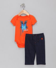 Orange Wet Paint Bodysuit & Pants.. BABY HURLEY CLOTHES?!?!? too freaking cute.