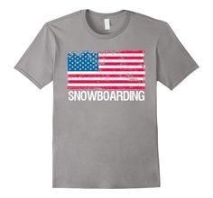 USA Flag Shirt Snow Snowboarding