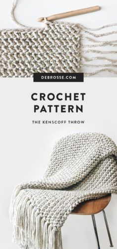 The Kenscoff Throw is a DeBrosse original featuring a unique herringbone texture created with a proprietary crochet method Finished size is 60 x 40 Crochet skill level I. Crochet Afghans, Crochet Blanket Patterns, Crochet Stitches, Knitting Patterns, Crochet Blankets, Knitted Throws, Easy Knitting, Knitting Yarn, Knitting Projects