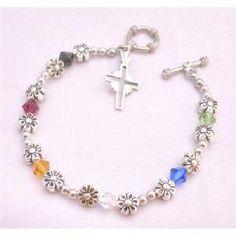 TB872 Handmade Salvation Bracelet With Genuine Austrian Crystals Ruby Jet Sapphire Topaz Peridot & by fashionjewelryforeveryone