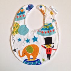 Baby Bib  Blue Circus Chenille Bib  3 for 25.00 by sallysarah, $10.00