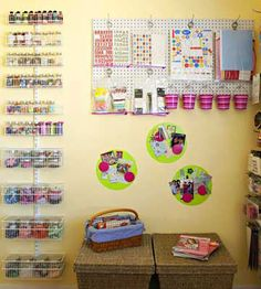 Leah attached an Elfa wire shelving system on the wall opposite her desk to hold everything from bottles of crafts paint to embellishments. The customizable system mounts easily on the wall and makes the most out of vertical space without shrinking the room./