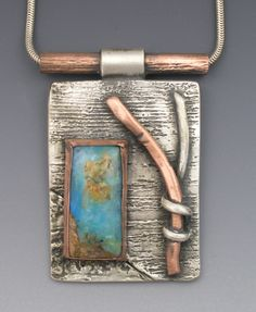 Hadar's Online Store | Copper and Turquoise Pendant | Materials: Fine Silver (PMC), copper, turquoise, sterling snake chain.   (504×613)  ||  http://store.artinsilver.com/coandtupe.html