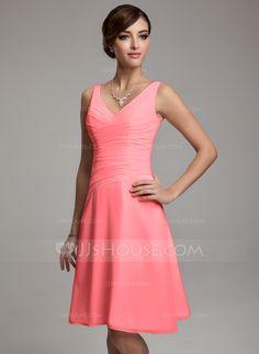 A-Line/Princess V-neck Knee-Length Chiffon Bridesmaid Dress With Ruffle Beading Sequins (007001083) - JJsHouse