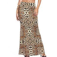 Alluring Leopard Print High-Waist Maxi Skirt For Women