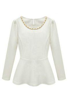 Embellished Long Sleeved White Blouse