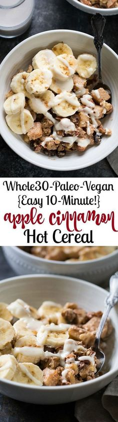 This easy Apple Cinnamon Paleo Hot Cereal is ready in just 10 minutes, free of added sugar, Paleo, Whole30 compliant and vegan. Just as delicious for an afternoon snack as it is for breakfast!