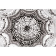Paris Photography Black and White Ceiling at Galeries Lafayette,... (€28) ❤ liked on Polyvore featuring home, home decor, wall art, black and white photography wall art, parisian wall art, paris home decor, paris wall art and architectural wall art