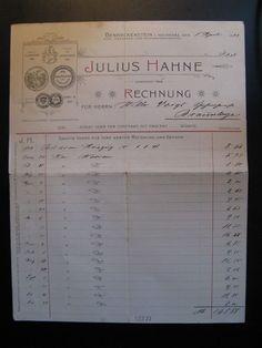 Antique Account, Julius Hahne, Benneckenstein...c. 1899