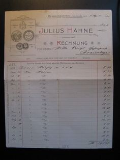 Antique Account, Julius Hahne, Benneckenstein...c. 1899