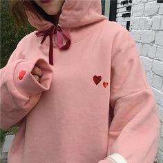 Heart print pink cozy warm hoodie ribbon tassel in 2019 vans Korean Aesthetic, Aesthetic Fashion, Aesthetic Clothes, Pink Aesthetic, Harajuku Fashion, Japan Fashion, Kawaii Fashion, Cool Outfits, Fashion Outfits