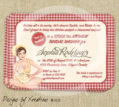 Retro Kitchen Themed Bridal Shower Invitation Template with blank recipe card - Customizable Wordings -  Print-your-own. $20.00, via Etsy.