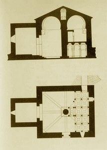 SAN BAUDELIO DE BERLANGA (Soria): arte mozárabe (siglo X). Planta y alzado según Gómez Moreno