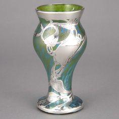 Loetz Silver Overlay Glass Vase   Circa 1900