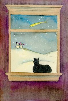Snowy night, painting by artist Nicole Wong