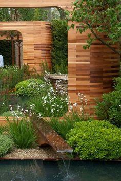 hors-sol-bois-jardin-plantes moderne-bassin