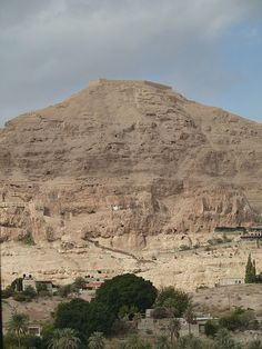 The Mount of the Temptation is rising above Jericho