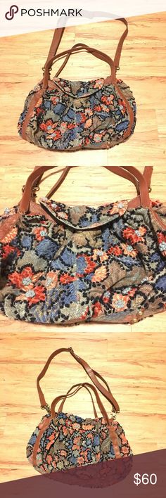 Anthropologie Miss Albright Tapestry Multicolor Very unique Miss Albright embroidered tapestry bag made in India. Clean inside, very good overall condition, 1 flower has a few loose threads, otherwise very good condition. Anthropologie Bags Hobos