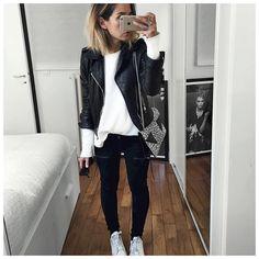 """Audrey on Instagram: """"Aujourd'hui c'était donc noir et blanc! • Leather Jacket #balenciaga (old) • Top #bash (old) • Jean #hironaeparis (on @hironaeparis) • Bag #saintlaurentparis (from @vestiaireco) ..."""""""