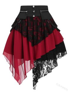 Teen Fashion Outfits, Edgy Outfits, Cool Outfits, Skirt Outfits, Skirt Midi, Lace Skirt, Mini Skirt, Goth Outfit, Cheap Skirts