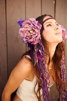 Purple Fairy Goddess Headdress As seen in par RadhasLoveDesigns777, $250.00 LOVE this. Very inspirational and evokes the mood I'm going for in this piece.