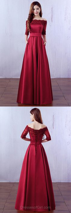 Cheap Prom Dresses, Off the Shoulder Prom Dress, Burgundy Evening Dresses, 1/2 Sleeve Party Dresses, Satin Formal Dresses