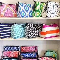 What a fun & vibrant display of SCOUT cosmetic bags by Note Worthy in Winston Salem, NC!