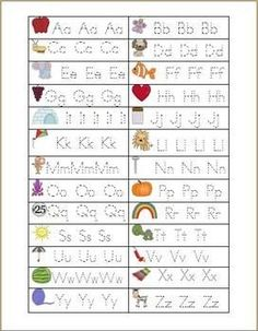 Alphabet tracing lines