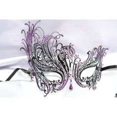 Silver White Gold Purple Black Swan Masquerade Mask with Sparkling Crystals - Luxury Filigree Metal Mask Collection ($33) found on Polyvore