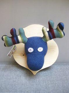 One-of-a-kind Stuffed Moose Wall Plaque, Handmade in Toronto Ontario. Wall Plaques, Handmade Baby, Baby Toys, Ontario, Moose, Toronto, Glass Art, Dinosaur Stuffed Animal, Artwork