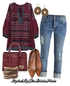 Polyvore featuring polyvore, fashion, style, Michael Kors and clothing. Boho fashion. Summer. Summer outfit. Fashion for women over 40. Boyfriend Jean.