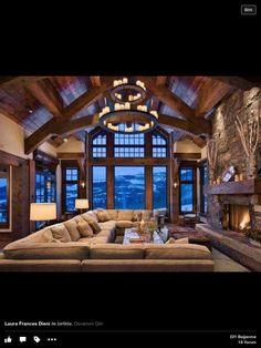 Log house living room