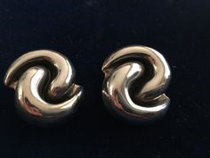 Vintage Sterling Silver Modernist Earrings Dulce Mexico Chunky Clip On  .925  #Dulce