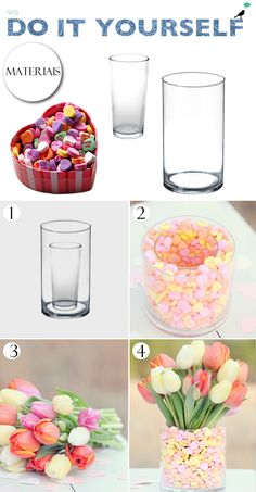 Flower vase decorated with candies