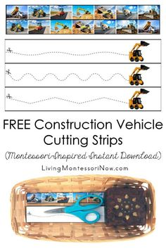 These free Montessori-inspired construction vehicle cutting strips are an instant download with a variety of skill levels; scissor cutting practice for classroom or home! You'll get cutting strips with 7 construction vehicle photographs and a second page with another construction vehicle photo and more advanced cutting strips - Living Montessori Now