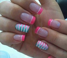 Ideas for nails art summer ring finger Fancy Nails, Diy Nails, Cute Nails, Pretty Nails, Fingernail Designs, Nail Polish Designs, Nail Art Designs, French Tip Nails, Colorful Nail Designs