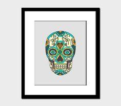 Dia De Los Muertos Skull Modern Wall Art Home Decor Art Print Skull Hispanic Latin Culture. $17.00, via Etsy.