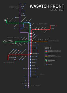 Trax, Frontrunner and MAX Stations along the Wasatch Front Map Design, Graphic Design, Utah Map, Train Map, Map Layout, Metro Map, Map Projects, Subway Map, Information Design