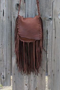 Brown possibles bag , Fringed brown handbag , Brown fringed handbag A brown possibles bag for your everyday needs. This bag is made in chocolate brown elkskin. Leather Fringe, Leather Chain, Leather Pouch, Leather Purses, Leather Handbags, Brown Leather, Leather Tooling, Leather Crossbody, Fringe Handbags