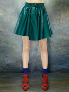 ELF SACK Leather Look Skirt In Green | Choies