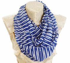 Cobalt Blue Stripes Infinity Scarf Lighweight Soft by HeraScarf, $9.90