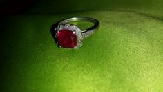 Sterling Silver Cushion cut lab created ruby vintage style ring 8.0mm size 7